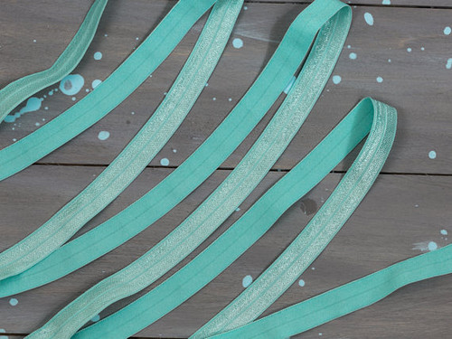 "5/8"" Aqua Foldover Elastic By the Yard"