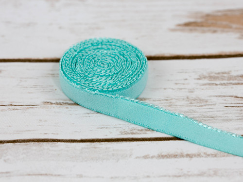 "1/2"" Aruba Aqua Plush Back Finishing Elastic Picot Edge Latex Free"