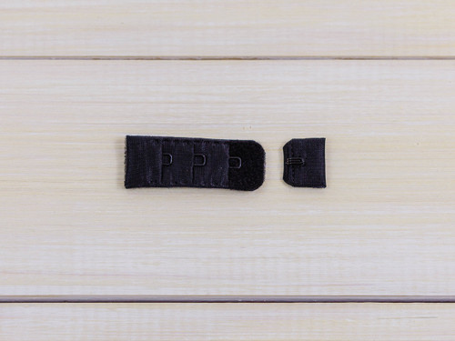 "Black 1 Hook and Eye Bra Back Closures 0.75"" x 2"""