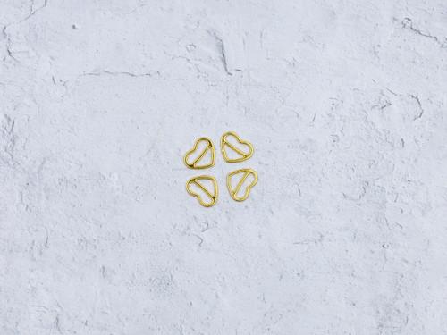"""4  Heart Shape Gold Sliders 1/2"""""""