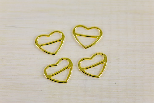 4  Heart Shape Gold Sliders 1/2""