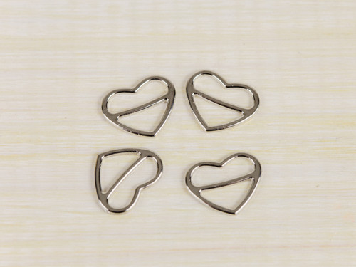 4  Heart Shape Silver Sliders 1/2""