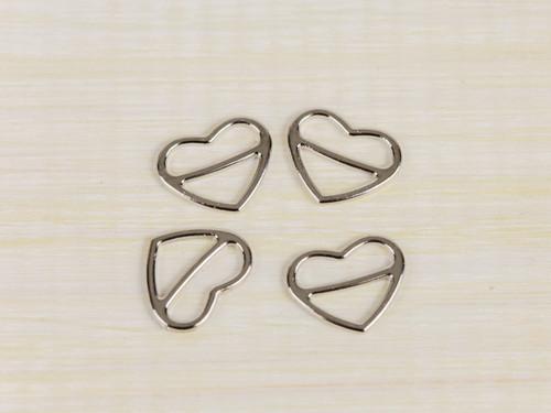 """4  Heart Shape Silver Sliders 1/2"""""""