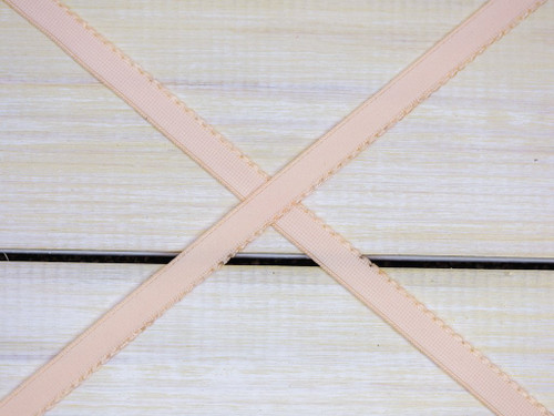 "3/8"" Champagne Beige Plush Back Finishing Elastic Picot Edge Latex Free"