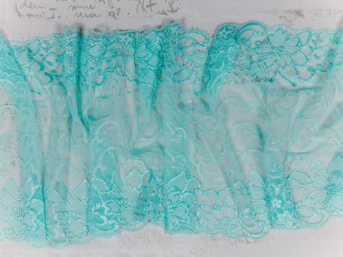 "8.5"" Aruba Aqua Double Scallop Galloon Stretch Lace By The Yard"