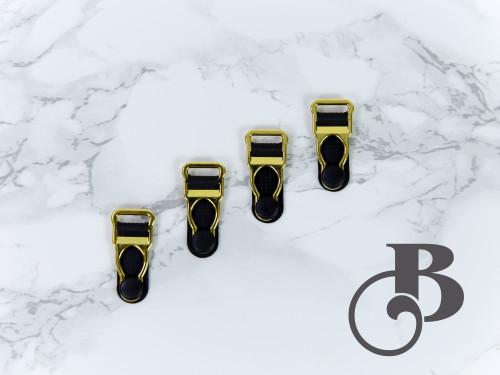 """1/2"""" Gold + Black Garter / Suspender Clips Set of 4"""