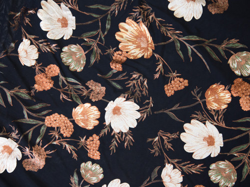 "Metallic Autumn Floral Print Powermesh Fabric 58"" wide By The Yard"