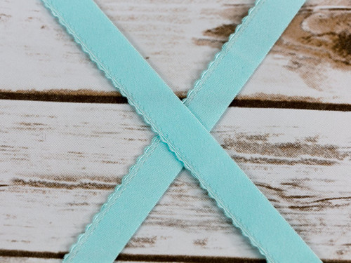 "5/8"" 15mm Lt Aqua Plush Finishing Elastic Scalloped Edge"