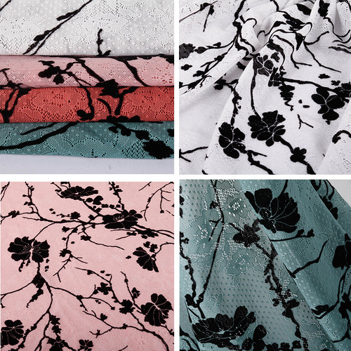 """Flocked Velvet Jacquard Lace Fabric 58"""" wide Choice of Colors"""