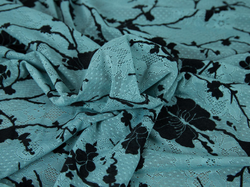 "Jade Flocked Velvet Jacquard Lace Fabric 58"" wide"