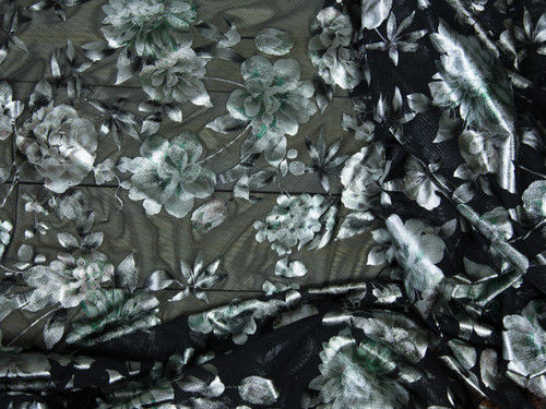 "Metallic Watercolor Green Floral Print Powermesh Fabric 58"" wide By The Yard"