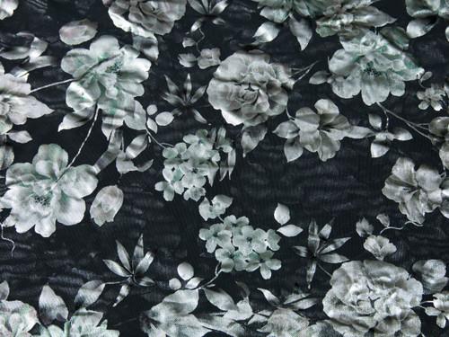 "Metallic Watercolor Green Floral Print Powermesh Fabric 58"" wide By The Yard"