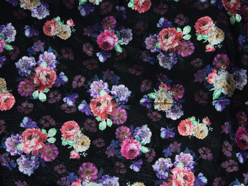 "Metallic Bright Floral Print Powermesh Fabric 58"" wide By The Yard"