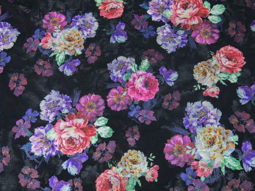 "Metallic Bright Floral Print Powermesh Fabric 58"" wide By The Yard"