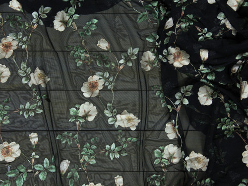 "Metallic Floral Print Powermesh Fabric 58"" wide By The Yard"