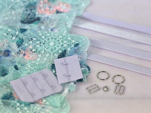 Aqua + Lavender Lace Bra Making Kit with Sheer Cup Lining