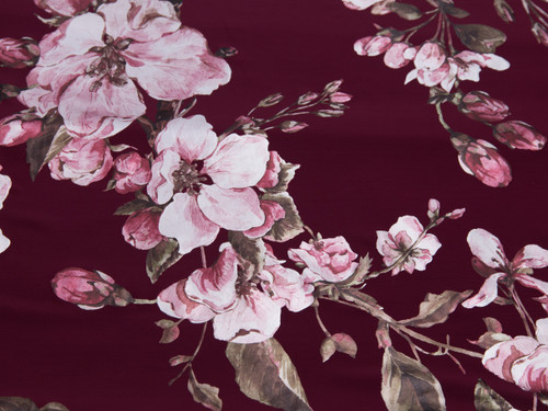 """Metallic Foil Lycra Burgundy Floral Print Fabric 58"""" wide By The Yard 200gsm"""