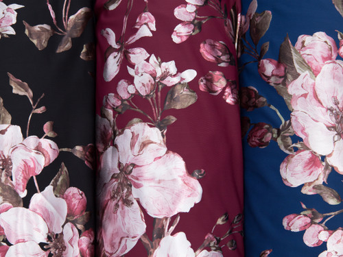 """Metallic Foil Lycra Blue Floral Print Fabric 58"""" wide By The Yard 200gsm"""