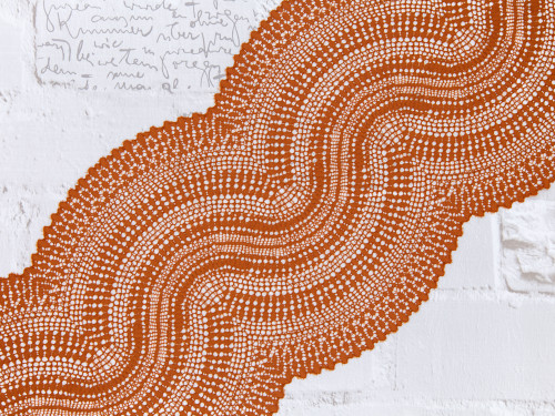 """9"""" Cinnamon Undulating Waves Stretch Lace By The Yard"""