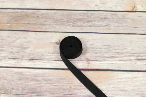 "5/8"" Black Satin Faced Plush Back Strap Elastic By The Yard"