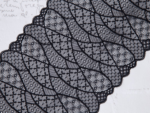 "8.5"" Black Patchwork Style Stretch Lace By The Yard"