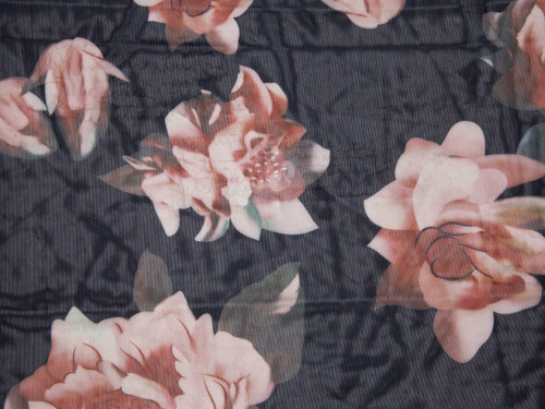 "Floral Print Powermesh Fabric 58"" wide By The Yard"