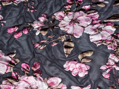 """Metallic Foil Mesh Black Floral Print Fabric 58"""" wide By The Yard 120gsm"""