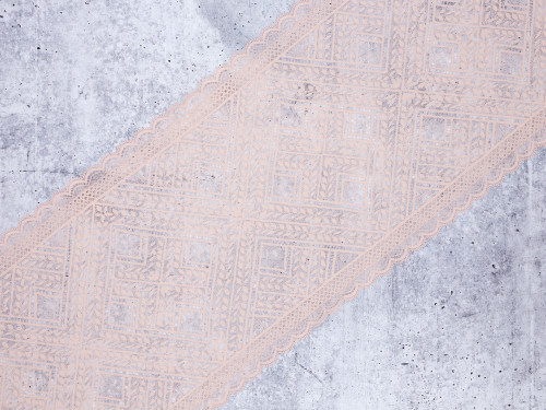 "8"" Beige Trellis Floral Stretch Lace By The Yard"