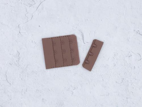 "Chocolate Truffle Brown 3 Hook and Eye Bra Back Closures 1.75"" x 2"""