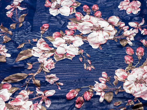 """Metallic Foil Mesh Blue Floral Print Fabric 58"""" wide By The Yard 120gsm"""