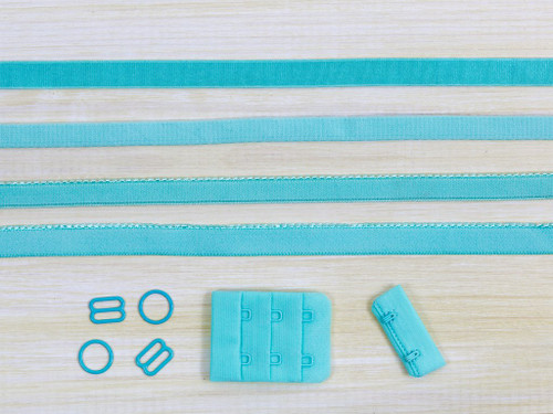 Aruba Aqua Blue Bra Making Findings Kit Medium Elastics