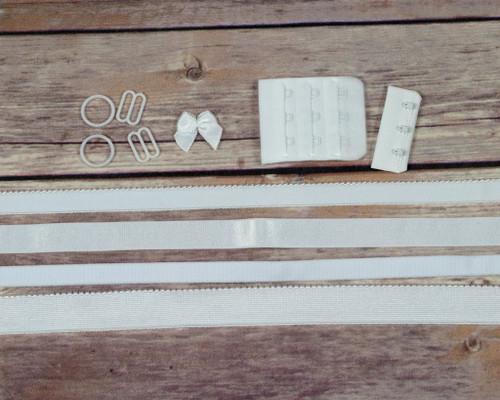 White Dyeable Bra Making Findings Kit Wide Elastics