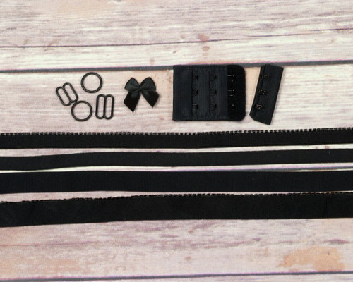 Black Bra Making Findings Kit Wide Elastics