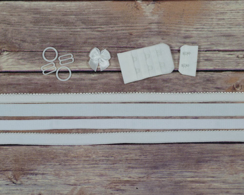 White Dyeable Bra Making Findings Kit Medium Elastics