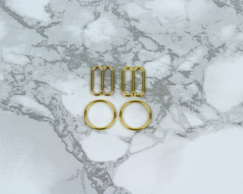 "3/8"" Gold Metal Rings and Sliders PREMIUM Nickel Free By The Set or By The Dozen"