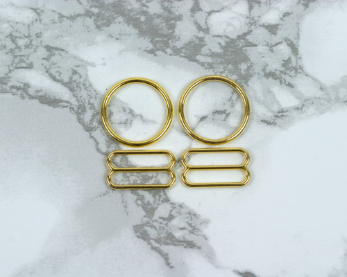 """5/8"""" Gold Metal Rings and Sliders PREMIUM Nickel Free By The Set or By The Dozen"""