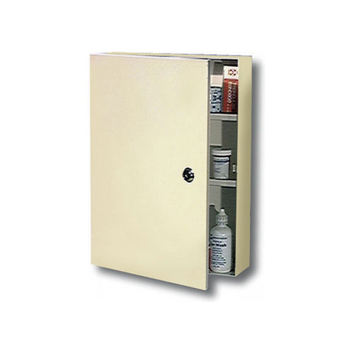 Locking Wall Mount Medication Cabinet in White Sand Finish. Durable Steel with built-in key lock to secure medicines.