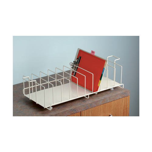 Clipboard Rack for counter storage. Heavy-duty, steel wire construction epoxy-coated in Beige color.