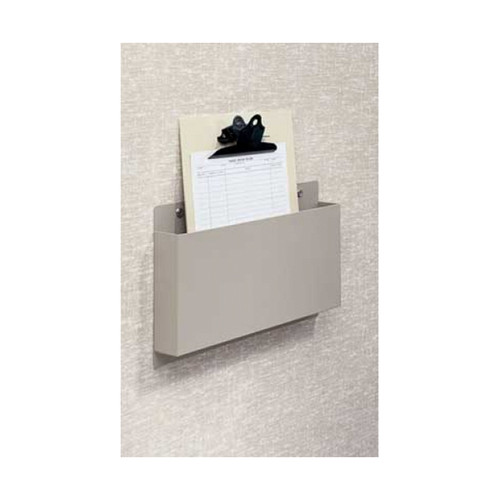 "Wall Mount Document Holder, Anodized Aluminum Painted in White Sand color, 15"" W x 7"" H x 2"" D."