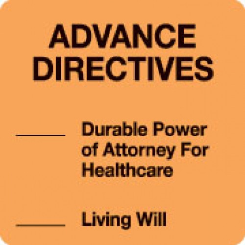 """ADVANCE DIRECTIVES"" Orange Fluor. Label 2 1/2"" x 2 1/2"""