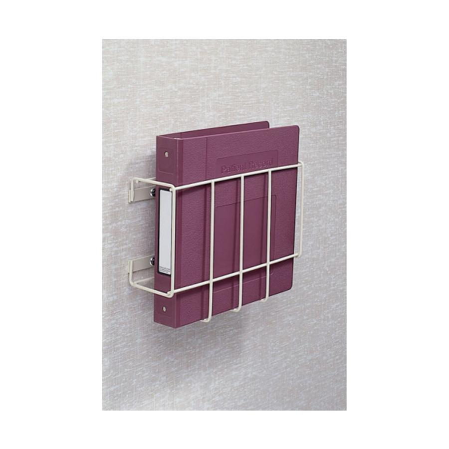 """Wire Wall Mount Chart Holder. ADA compliant. Heavy-duty 1/2"""" steel wire epoxy-coated in Beige. Holds 1/2"""" - 2"""" Ringbinder charts. Overall size 9-1/2""""h x 12 """"w x 4""""D. Inside dimension 2-7/8""""."""