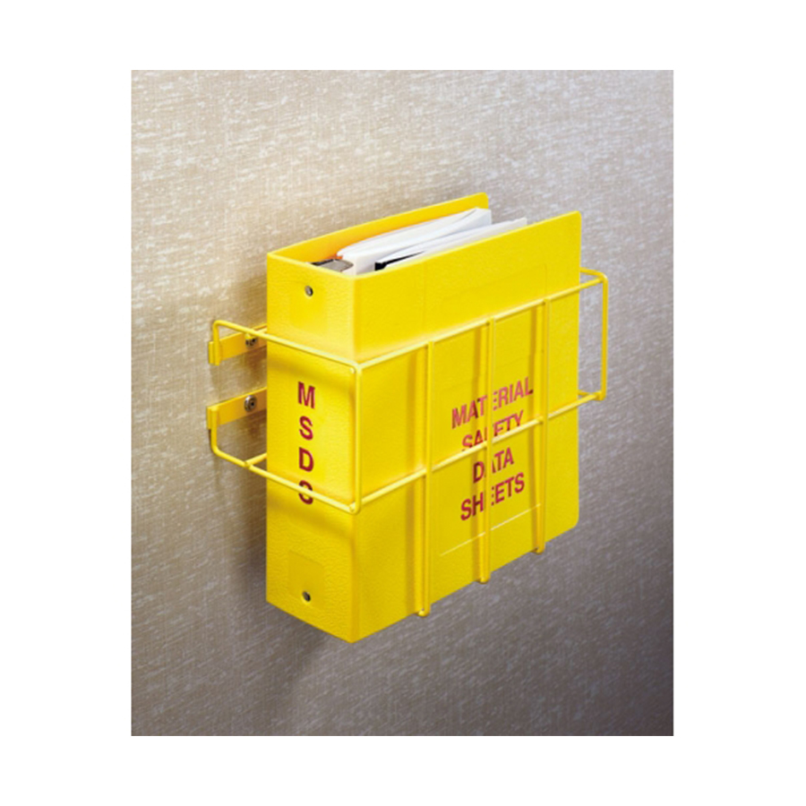 """MSDS Wall Mount. Heavy-duty 3/16"""" steel wire epoxy-coated in bright yellow."""