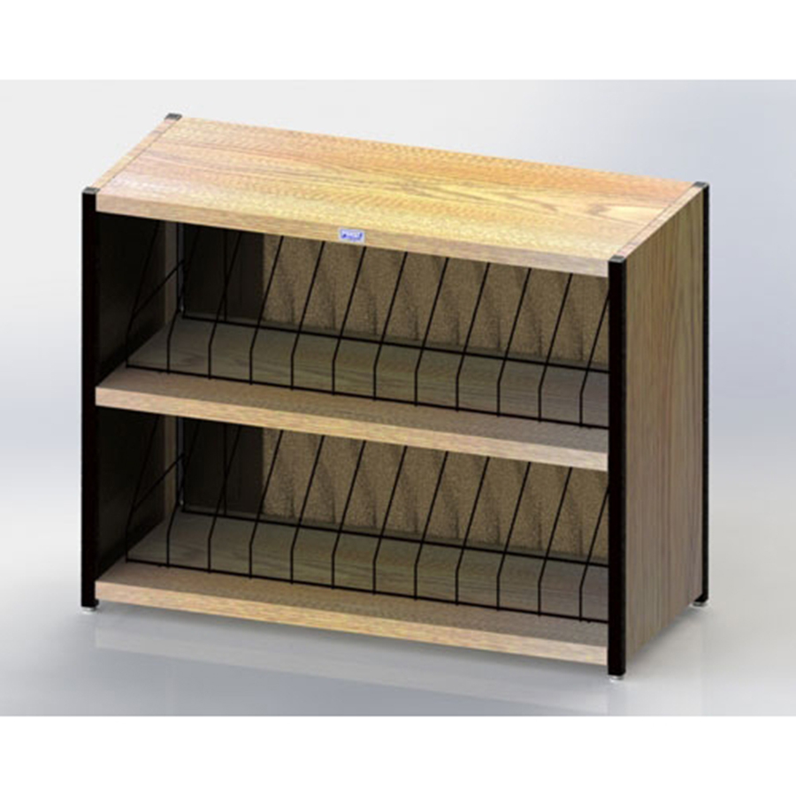 "Level I 623 Series Deluxe Counter Chart Rack. Side-opening. 24 capacity (2 x 12) vertical storage for 3"" - 4"" ringbinder charts. Classic Oak."