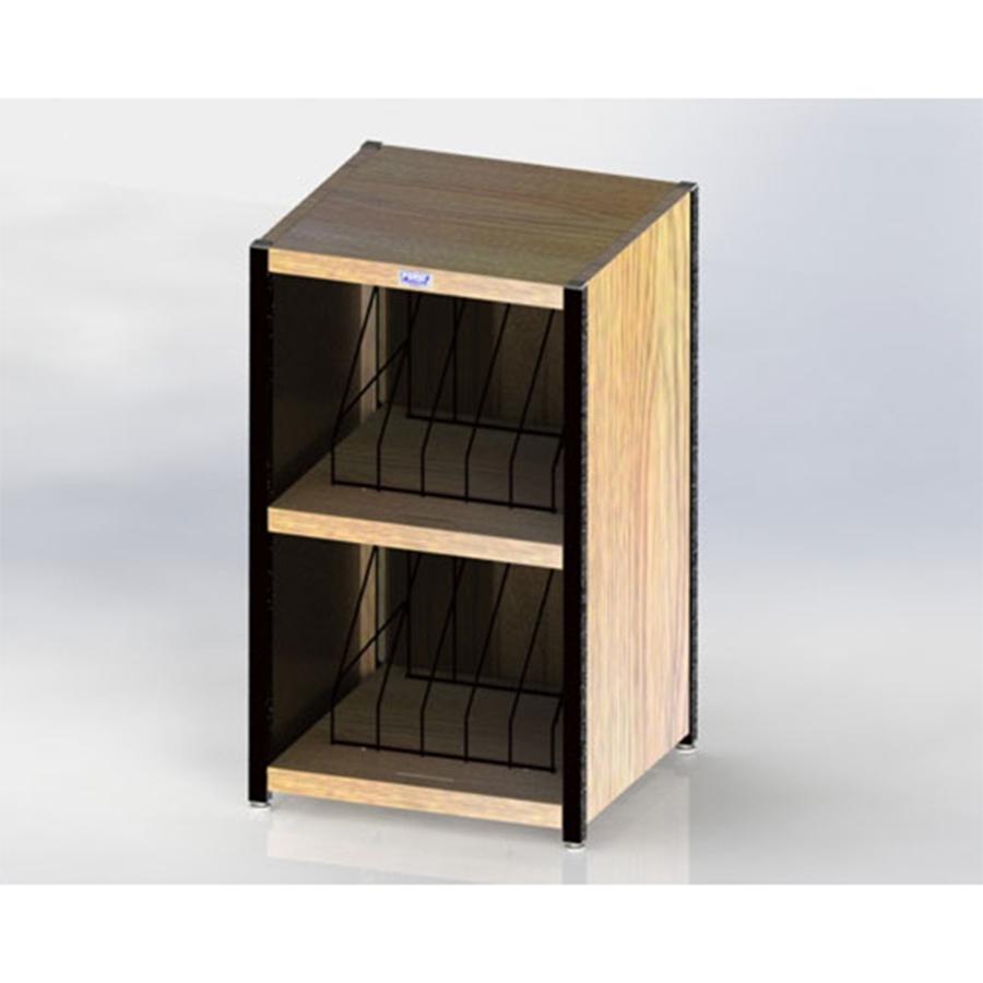 """Level I 632 Series Deluxe Counter Chart Rack. Top-opening. 10 capacity (2 x 5) vertical storage for 1"""" - 2"""" ringbinder charts. Classic Oak."""