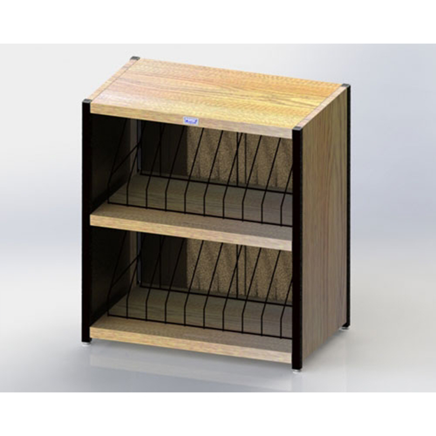 """Level I 632 Series Deluxe Counter Chart Rack. Top-opening. 20 capacity (2 x 10) vertical storage for 1"""" - 2"""" ringbinder charts. Classic Oak."""