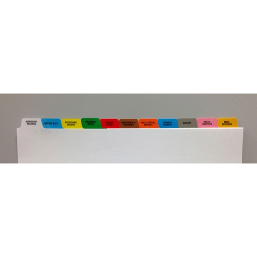 S/O Long Term Care 11 Tab Standard Poly Dividers - Antimicrobial
