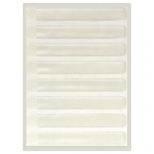"""Binder Spine Clear I.D. Pocket, for use with 1"""" binders and 4261-01 insert cards! OD: 3/4"""" H x 5-1/2"""" L,  ID:  1/2"""" H x 5-1/4"""" L,  8 pockets per sheet"""