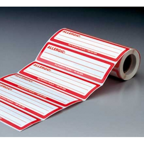 Allergic Label 200/Roll White with Red Border