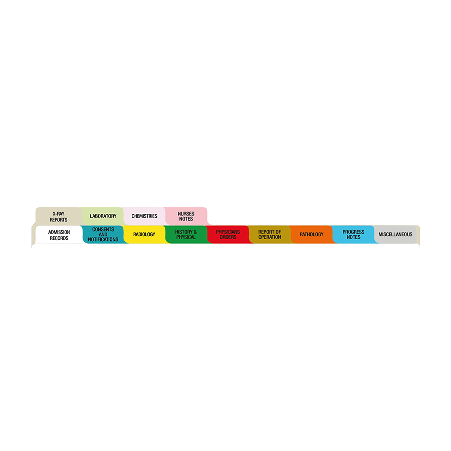 S/O Oncology 13 Tab Standard Poly Dividers - Antimicrobial (M240920)