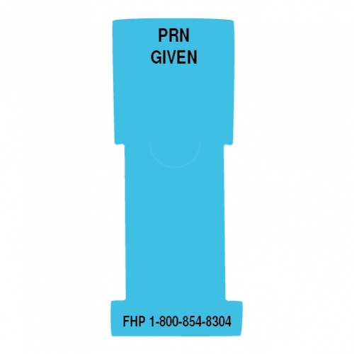 """""""P.R.N. Given"""" Stat Flag, Light Blue, Antimicrobial"""